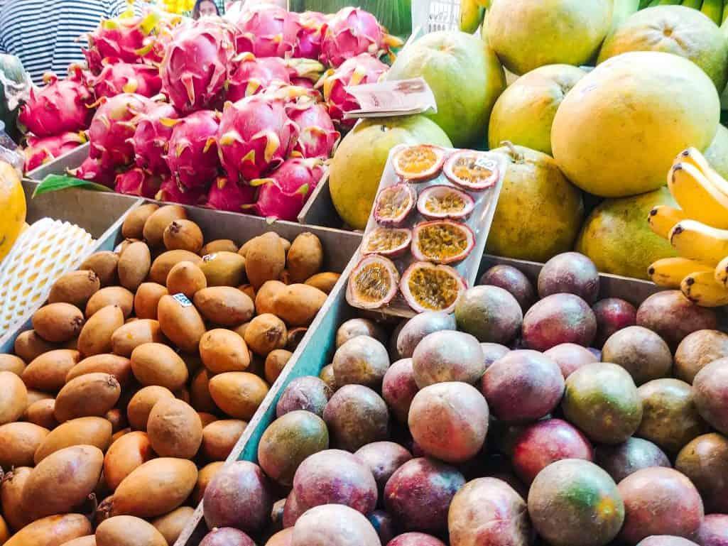 Passion fruit selection at Banzaan fresh market, Phuket, Thailand