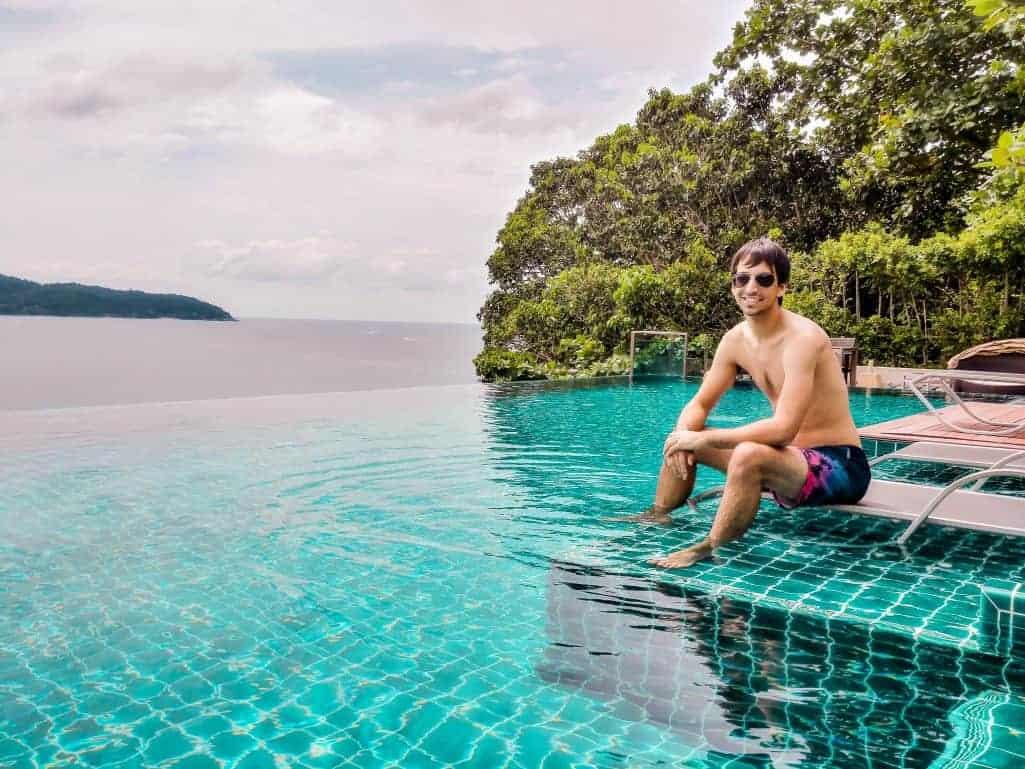 Kyle at the infinity pool of the U Zenmaya hotel in Phuket, Thailand