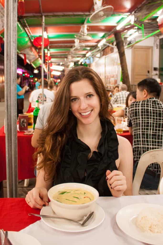 Bettina eating green curry at Patong Beach in Phuket Thailand
