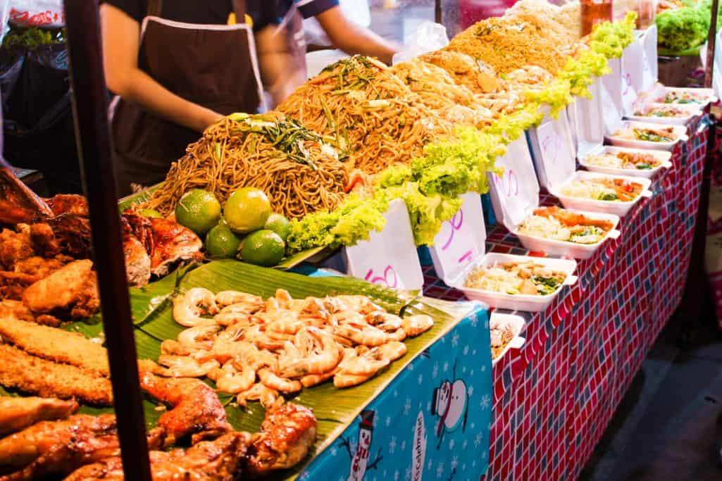 Fried thai noodles selection at Banzaan fresh market in Phuket, Thailand