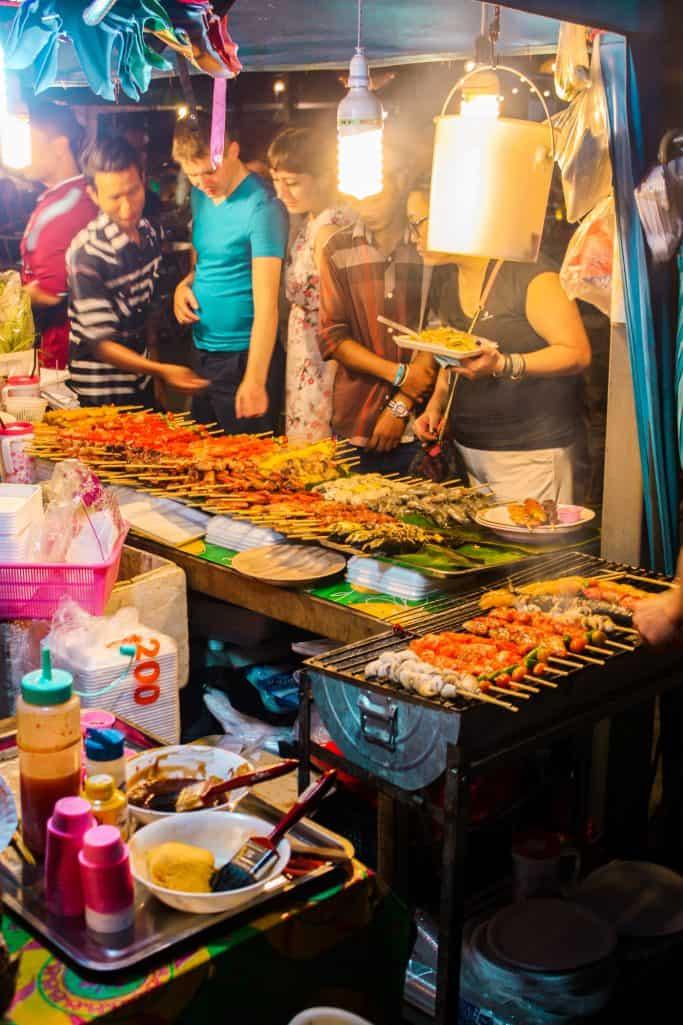 Meat skewers selection at Banzaan fresh market in Phuket, Thailand
