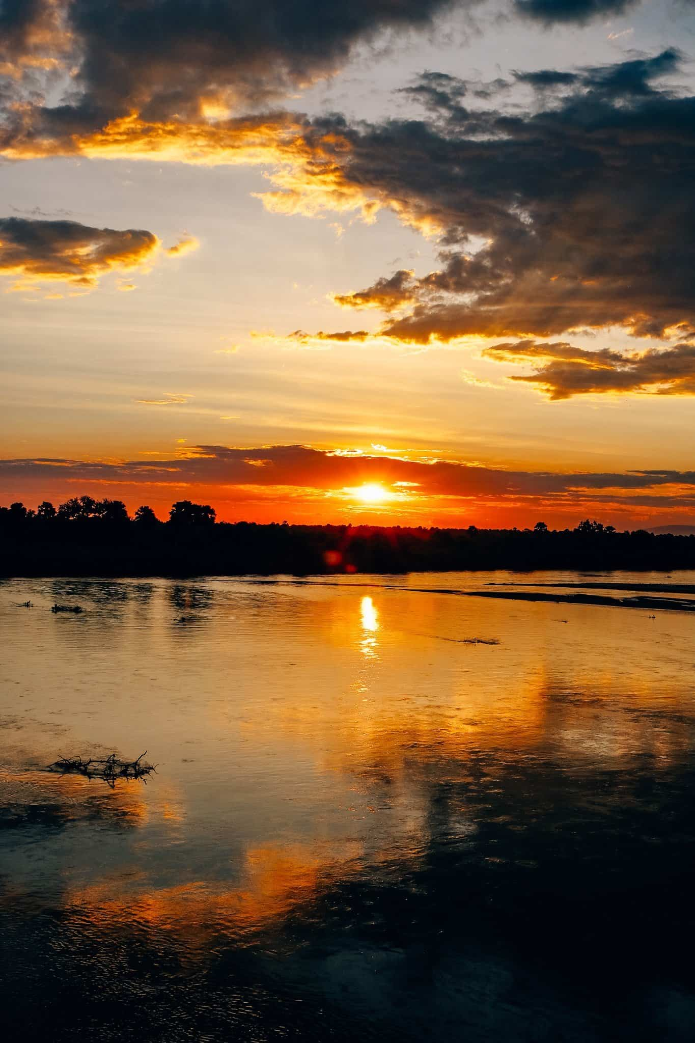 The Start of our First African Safari - Sunset at Rufiji River Camp