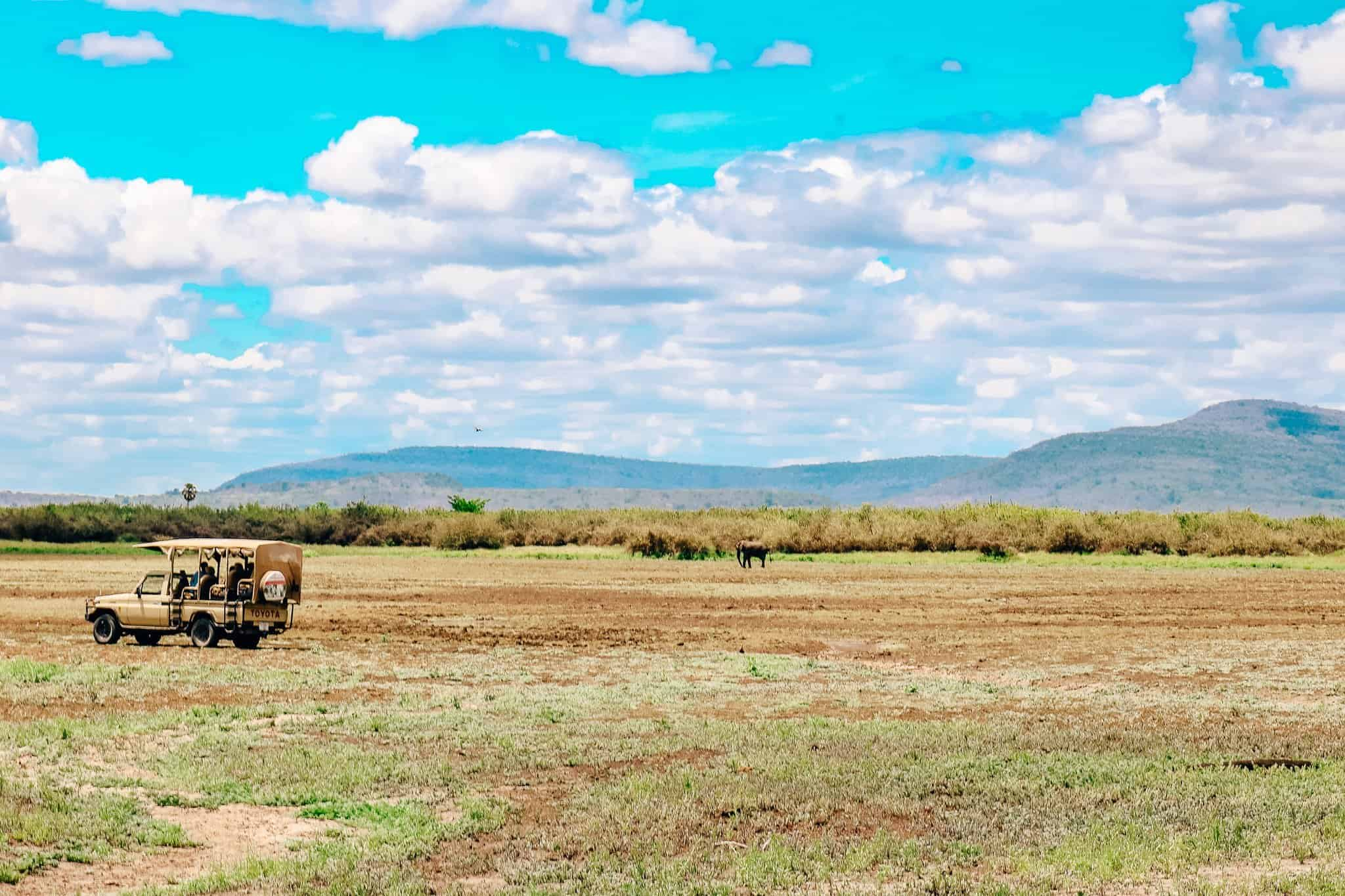 Scenery on African Safari Drive in the Selous Game Reserve