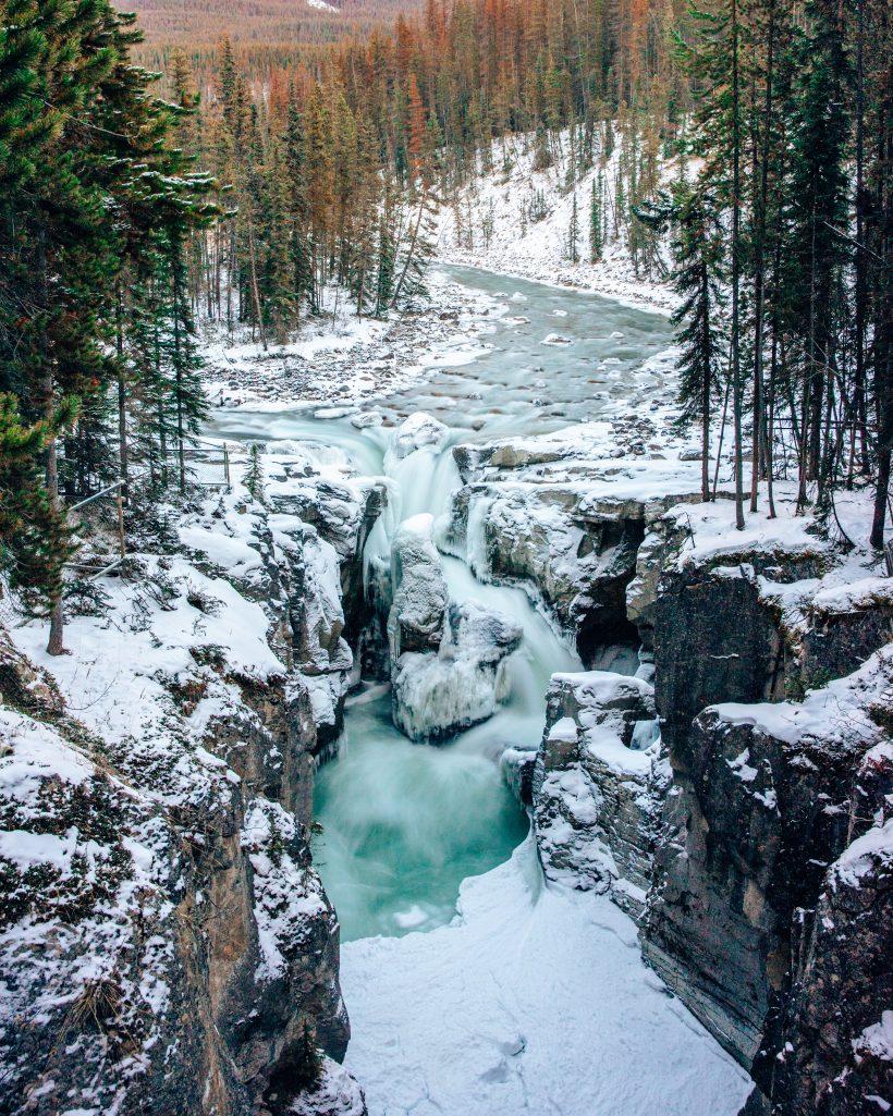 Sunwapta Falls in Winter