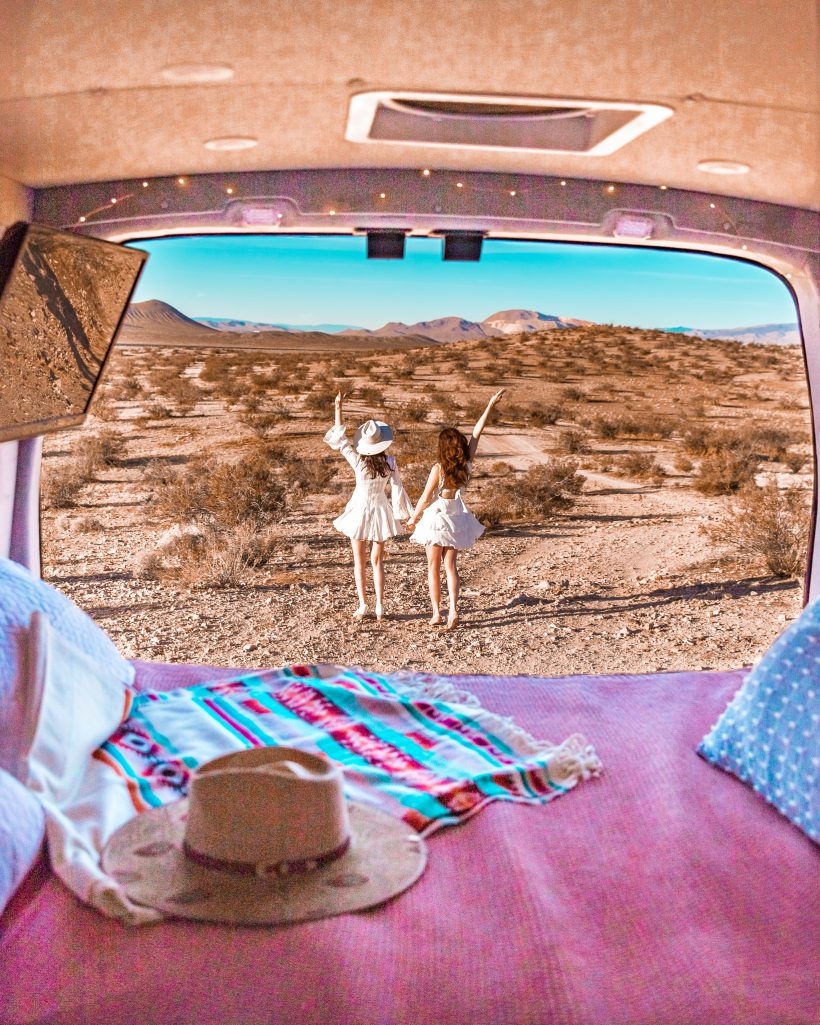 View from the Cabana Van of Girls twirling in Nature