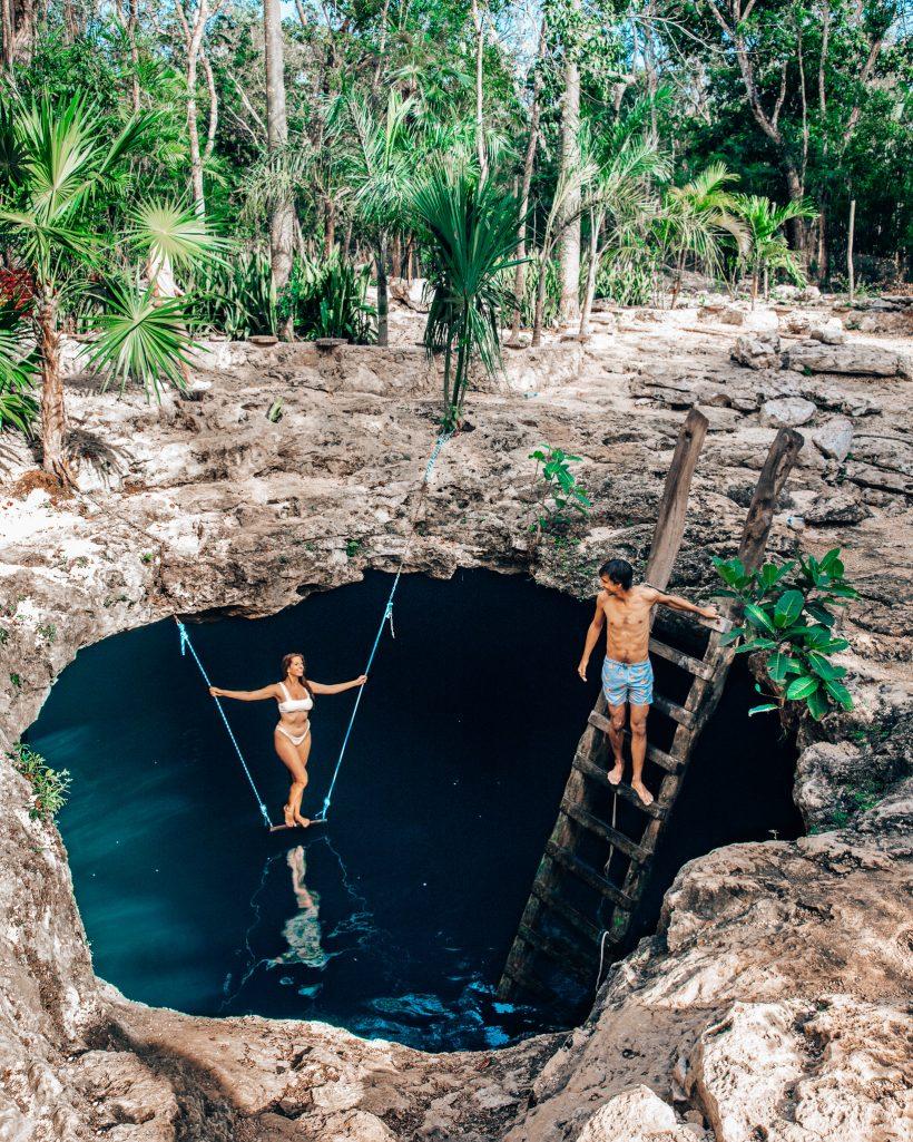 Bettina and Kyle at Cenote Calavera Tulum