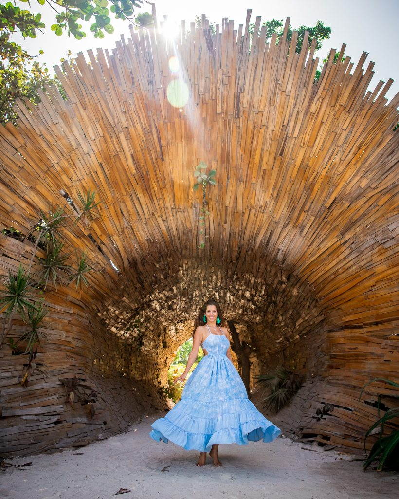 Bettina Twirling at Entrance to Selina Tulum