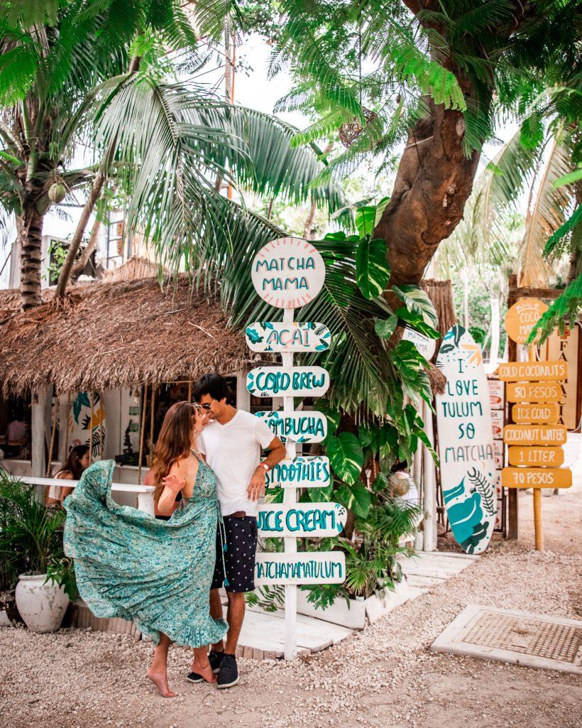 Bettina and Kyle at Matcha Mama Tulum Beach