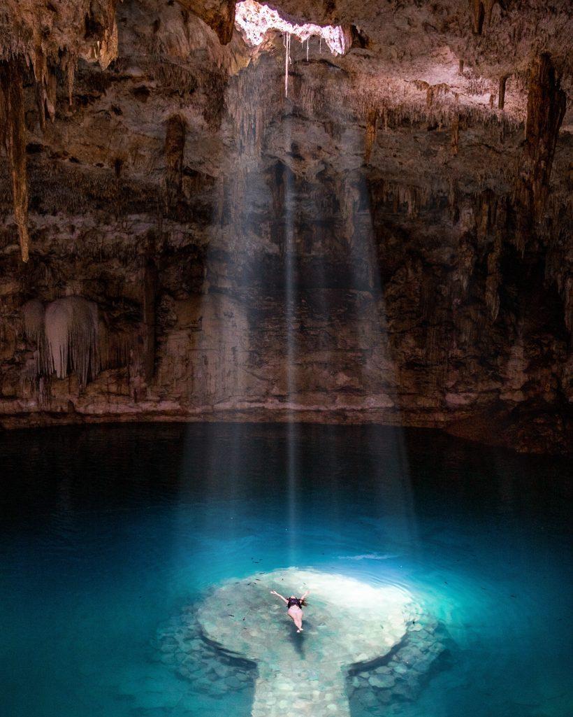 Sunrays at Cenote Suytun