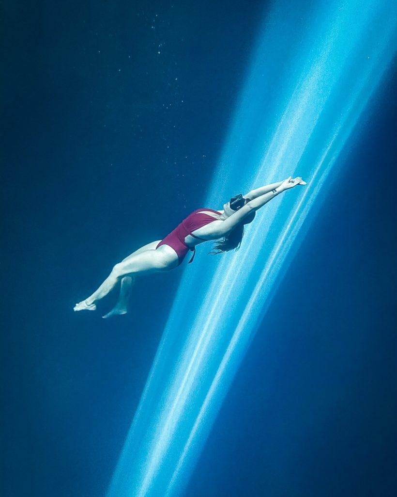 Underwater Sunrays at Cenote Chukum