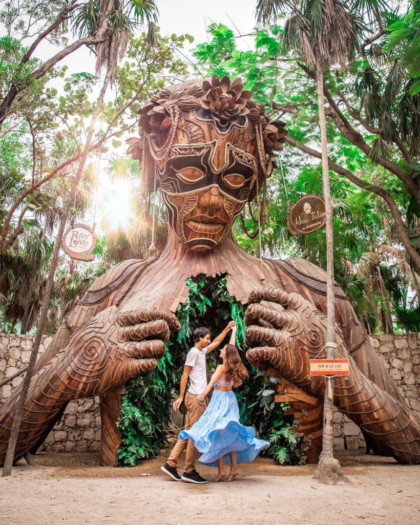 Bettina and Kyle at Ahau Tulum Entrance
