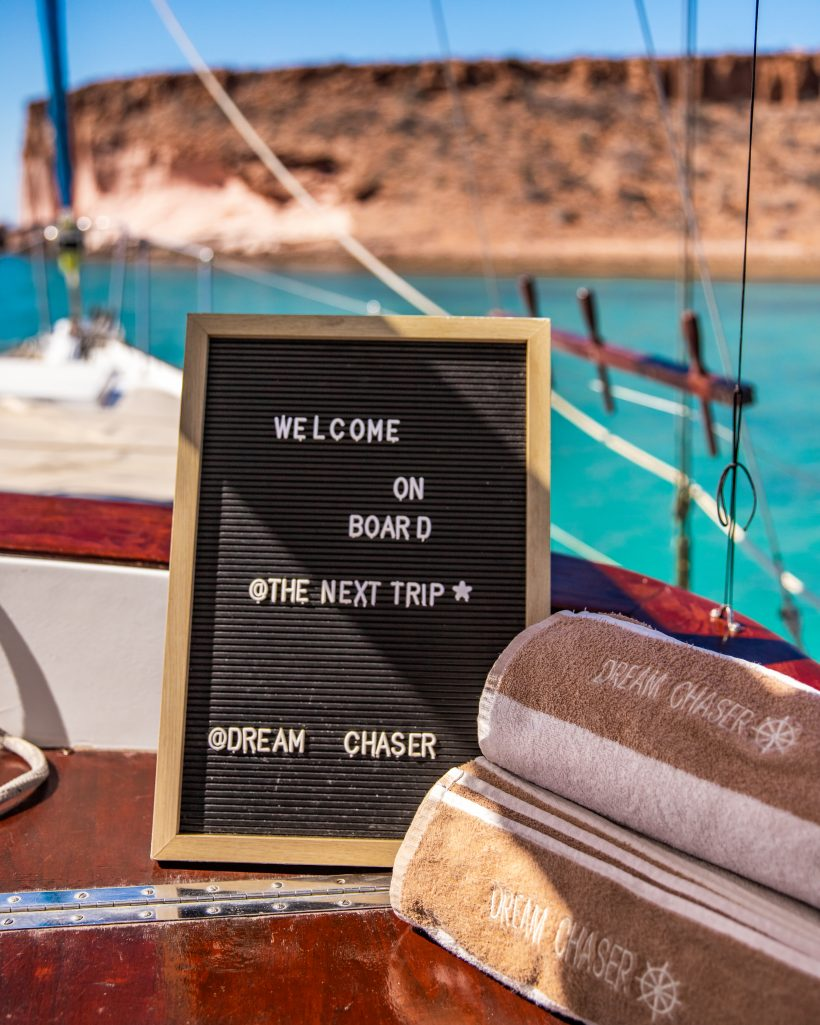 Welcome on Board Sign by Dream Chaser Charters Tour